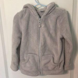 Carters size 4 gray fuzzy zip up hoodie